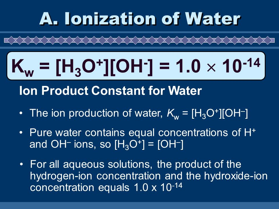 Kw = [H3O+][OH-] = 1.0  10-14 A. Ionization of Water